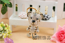 Crystal cartoon Tiger keychain creative men and women bags hanger rhinestone gold plating metal 3D keyring fashion design