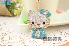 Creative men and women gifts cute hello kitty cat rhinestone Keychain fashion bag hanger crystal keyring