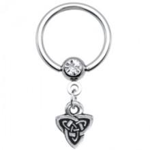 14 Gauge Celtic Triad Dangle Captive Ring