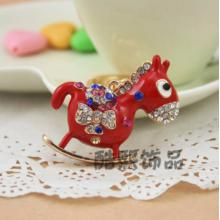 Criativa Coreia bonito pequeno pingente de requintado Trojan cavalo Keychain esmalte colorido chaveiro criativos presentes de cristal