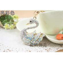 fashion cute Crystal Swan exquisite pendant Keychain creative gifts full rhinestone metal swan keyring new bag hanger
