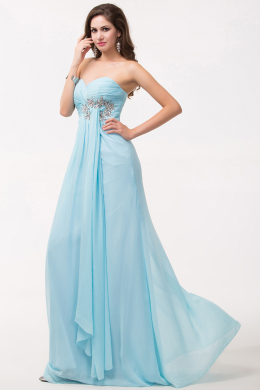 A-Line Strapless Floor Length Chiffon Prom Dress with Pleats