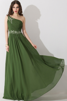 A-Line/Princess One-Shoulder Floor Length Chiffon Bridesmaid Dresses With Beads