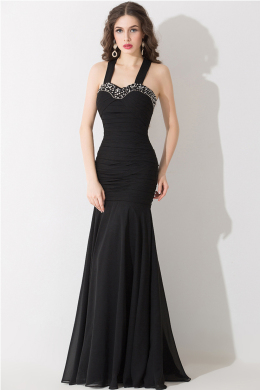 Trumpet/Mermaid Spaghetti Floor Length Chiffon Evening Dresses With Beads