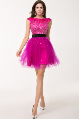 A-Line Sccop Neckline Mini Length Tulle Sweet 16 Dress with Beaded