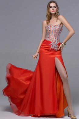 Sheath/Column Strapless Floor Length Chiffon Prom Dress with Beaded