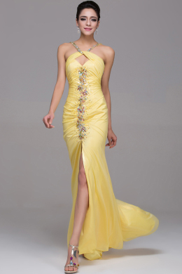 A-Line/Princess Sweetheart Floor Length Elastic Satin Prom Dresses With Applique