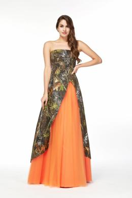 A-Line/Princess Strapless Floor Length Chiffon Prom Dress with Print