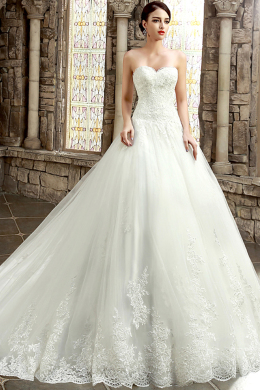 Ball Gown Strapless Cathedral Train Tulle Wedding Dress with Appliques