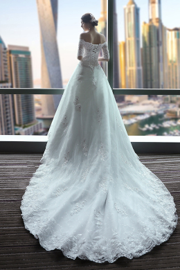 Ball Gown Lace Cathedral Train Wedding Dresses Plus Size