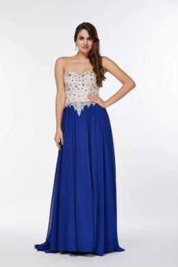 A-Line Sweetheart Neckline Sweep Train Chiffon Prom Dress with Beaded