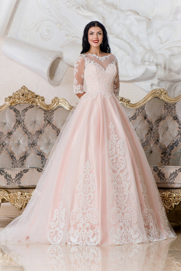 A-Line/Princess Tulle Sweep Train Wedding Dresses with Sleeves