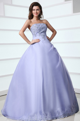 Ball Gown Strapless Floor Length Tulle Prom Dress with Appliques
