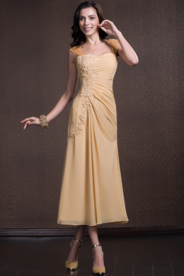 Sheath/Column Spaghetti Tea Length Chiffon Mother of the Bride Dresses with Applique