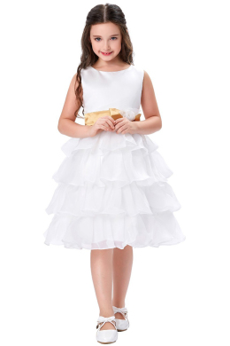 A-Line/Princess Organza Knee Length Dresses for Flower Girl in Wedding