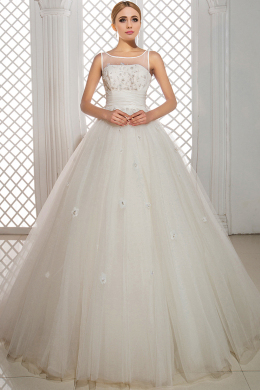 Ball Gown Jewel Court Train Tulle Wedding Dress With Beads