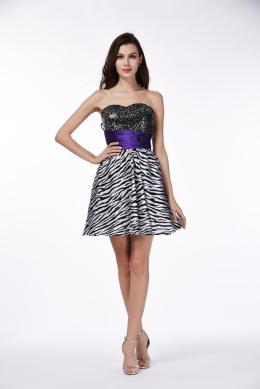 A-Line/Princess Strapless Mini-length Chiffon Cocktail Dress with  Embroidery