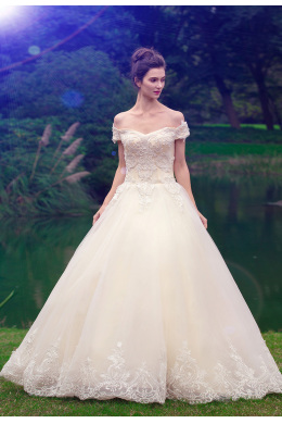 A-Line/Princess Tulle Floor Length Designs for Wedding Dresses
