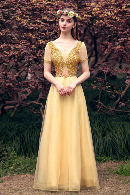 A-Line/Princess Tulle Floor-Length Long Evening Gowns for Wedding