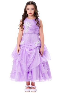 A-Line/Princess Organza Ankle-Length Girl Flower Dresses Wedding