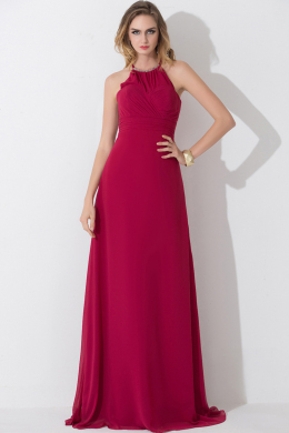 Sheath/Column Halter Floor Length Chiffon Bridesmaid Dress with Pleats