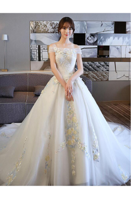Ball Gown Tulle Court Train Wedding Gown Preservation Company