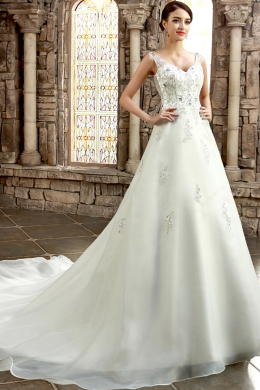 A-Line/Princess V-Neck Cathedral Train Organza Wedding Dress with Beaded