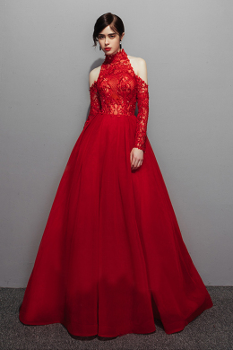 A-Line/Princess Tulle Floor-Length September Wedding Guest Dresses