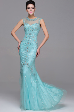 Sheath/Column Jewel Neck Floor Length Tulle Evening Dress with Beads