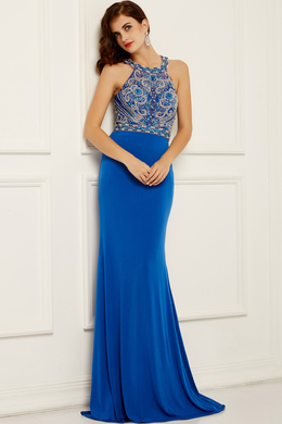 Sheath/Column Halter Sweep Train Chiffon Evening Dress with Beaded
