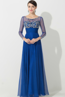 A-Line/Princess Scoop Neckline Floor Length Chiffon Mother of the Bride Dress with Beads