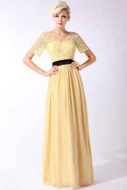 A-Line/Princess V-Neck Floor Length Chiffon Mother of the Bride Dress with Beads