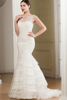 Sheath/Column Sweep Train Jewel Neck Tulle Wedding Dress with Appliques