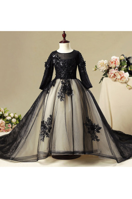 A-Line/Princess Tulle Sweep Train Girl Flower Dresses Wedding