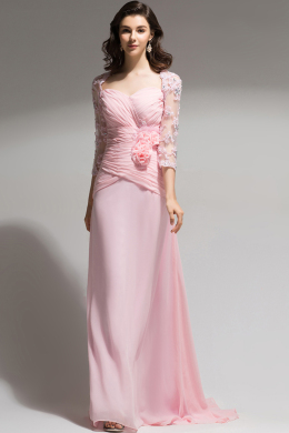 A-Line/Princess Sweetheart Neckline Floor Length Chiffon Mother of the Bride Dress with Flowers