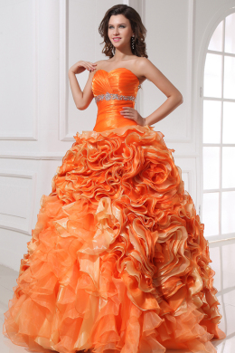 Ball Gown Strapless Floor Length Organza Quinceanera Dress with Beads