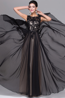 A-Line/Princess Jewel Floor Length Elastic Satin Prom Dresses With Applique