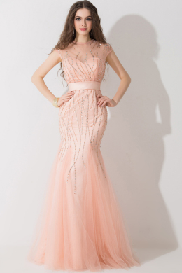 Sheath/Column Illusion Neck Floor Length Tulle Evening Dress with Beads