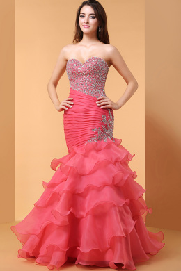 Sheath/Column Strapless Floor Length Organza Quinceanera Dress with Beadings