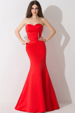 Sheath/Column Strapless Floor Length Satin Evening Dress with Jewelry