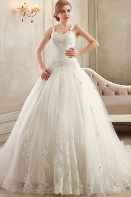 A-Line/Princess Spaghetti Straps Sweep Train Tulle Wedding Dress with Appliques