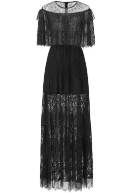 Sunvary High-end Illusion Neckline Black Lace Evening Dress Flare Bottom Rouched Long Party Dress