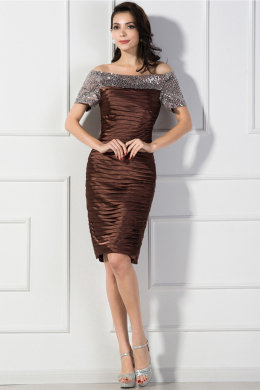 Sheath/Column Off Shoulder Knee Length Elastic Satin Mother of the Bride Dresses With Sequins