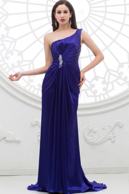 Sheath/Column One-Shoulder Floor Length Elastic Satin Evening Dress with Beads