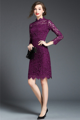 Sheath/Column Lace Knee-Length Summer Wedding Guest Dress