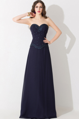 A-Line/Princess Sweetheart Neckline Floor Length Elastic Satin Evening Dresses With Beads