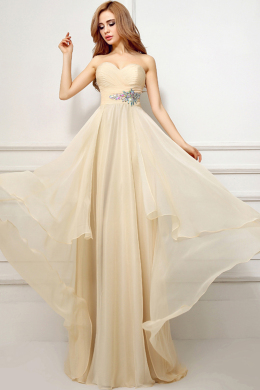 A-Line/Princess Strapless Floor Length Chiffon Bridesmaid Dress with Beadings