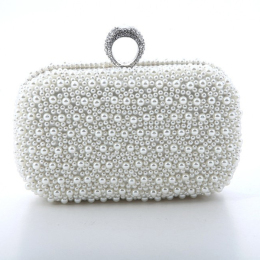 Womens Luxury Special Crystals Beaded Pearl Evening Clutch Bag