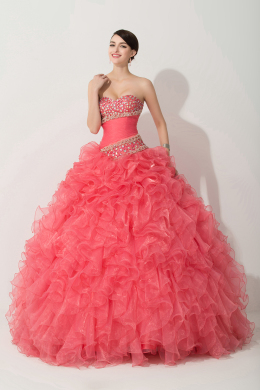 Ball Gown Strapless Floor Length Organza Quinceanera Dress with Ruffles