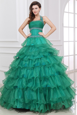 Ball Gown Halter Floor Length Organza Quinceanera Dress with Ruffles